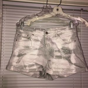 high waisted tye dye shorts